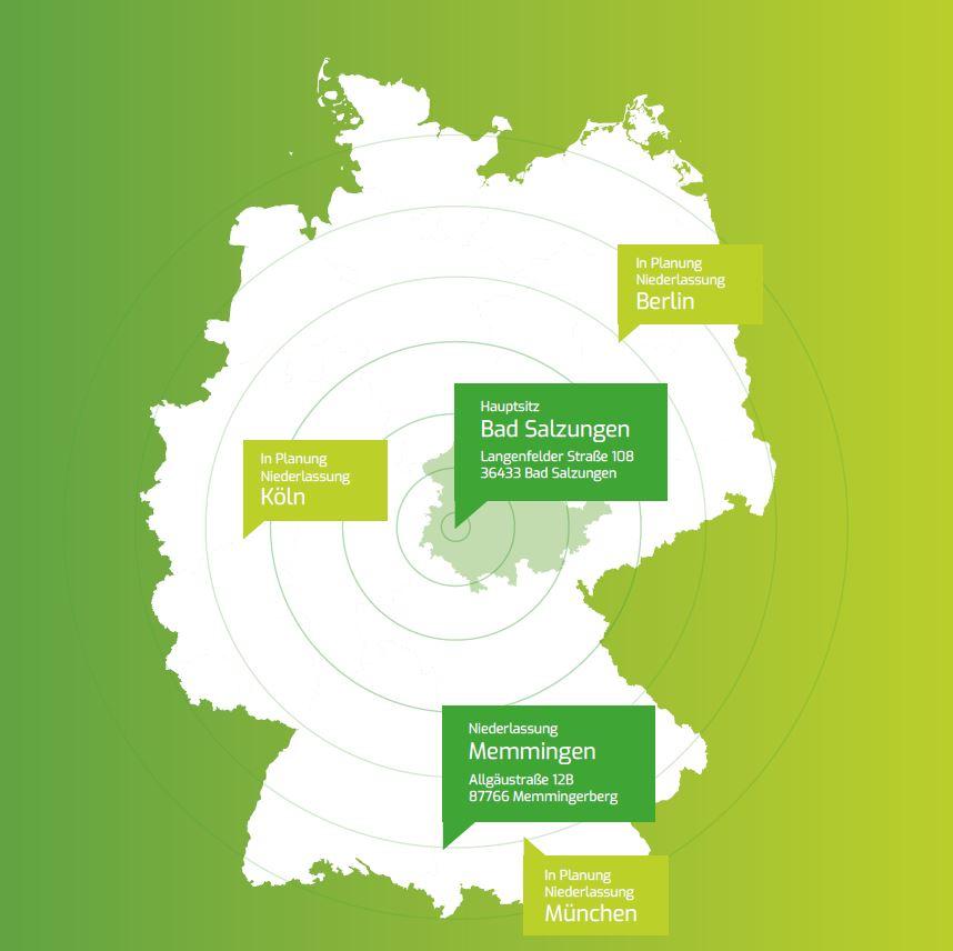 Deutschlandkarte mit Niederlassungen der VARIA3 GmbH